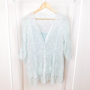 Sundance Light Mint Lacey Silk Tunic Blouse
